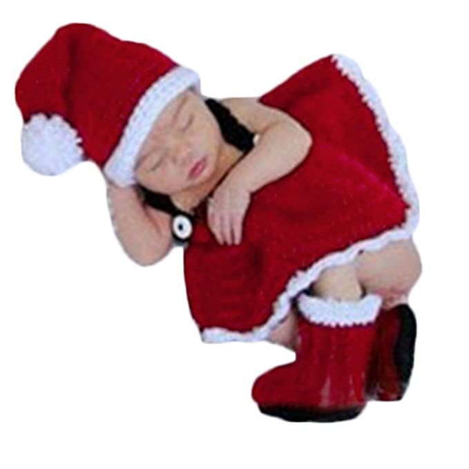 e1ba2c4a74b Amazon.com  Baby Photography Props Christmas Outfits Newborn Boy Girl Photo  Shoot Costume Crochet Knitted Santa Hats Dress Boots Red  Clothing