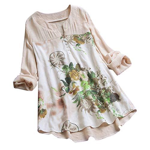 (Women Lien Long Sleeves Top Vintage V-Neck Floral Printed Front Button Soft Tunic Blouse T Shirt Plus Size (Beige, M))