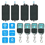 OWSOO 433Mhz Wireless RF Switch AC180V-240V 1CH Universal 10A Relay Wireless Remote Control Switch Receiver Module and 4PCS 4 Key RF 433MHz Transmitter Remote Controller 1527 Chip
