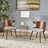 Kerriane Mid Century Dark Beige Fabric Dining Chairs with Natural Walnut Finished Frame (Set of 2)