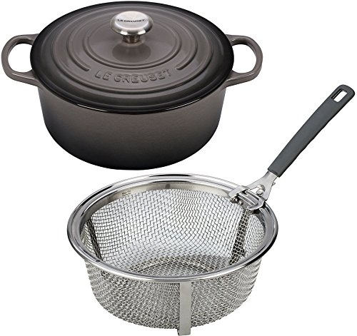 Le Creuset Signature Enameled Cast-Iron 5-1/2-Quart Round French (Dutch) Oven Bundle & Le Creuset 5-1/2 Quart Stainless Steel Fry Basket, Oyster