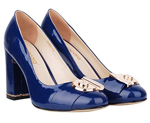 verocara geschoben Ferse Ornament Dekoration Echt Leder Abendkleid Damen Pumps Pumpen B-Blue patent