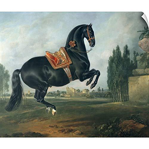 "CANVAS ON DEMAND Johann (1672-1737) Hamilton Wall Peel Wall Art Print Entitled A Black Horse Performing The Courbette 12""x10"""
