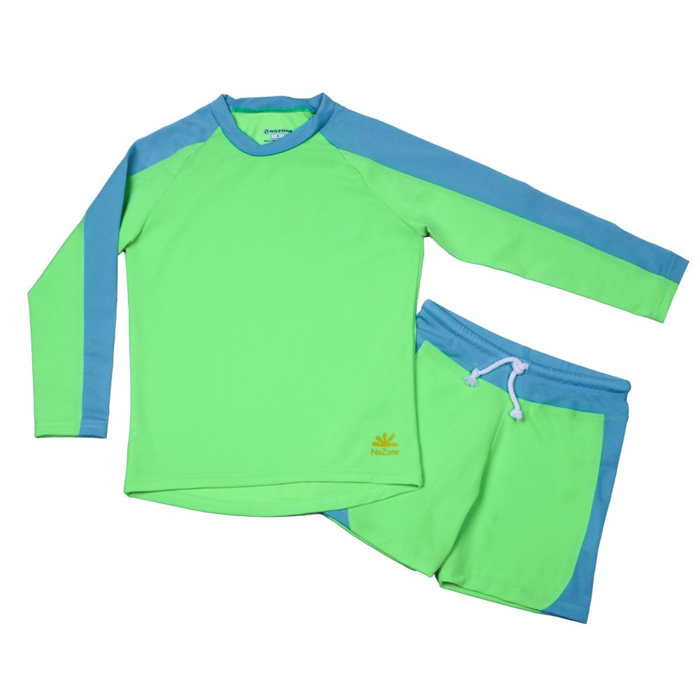 Size 14 Nozone Laguna Sun Protective Boys Two Piece Swimsuit in Lime//Aqua