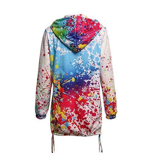 Sweat à Tie Veste Izhh Outwear Vent Womens Manteau Coupe Ladies Manteau Casual Imprimer Hooded Survêtement Blanc Zipper Fashion Tie Dyeing capuche c1JlF35uTK