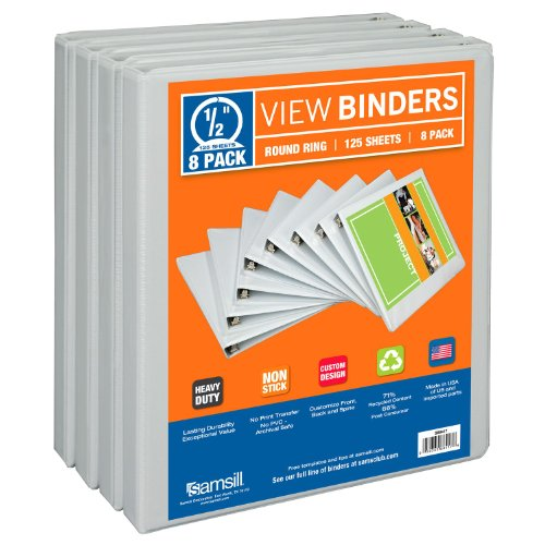 White Clear Overlay (Samsill 3 Ring Durable View Binders - 8 Pack, 1/2 Inch Round Ring , Non-Stick Customizable Clear Cover, White)