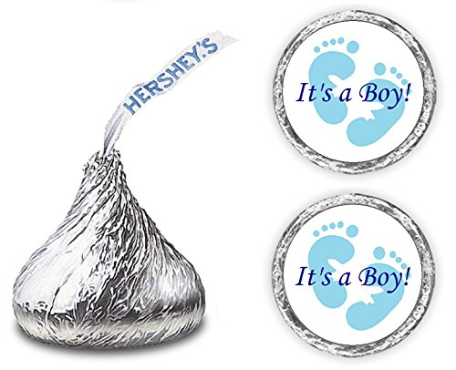 324 Its A Boy Blue Footprints Kisses Labels For Baby Shower Or Baby Sprinkle Party Or Event, Stickers, Wrappers, Favors]()