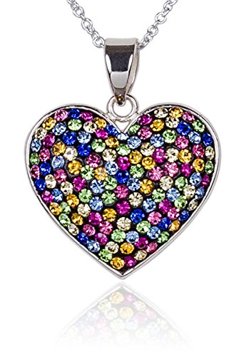 Carly Creations Women's Silver Plated Genuine Crystal Multicolored Heart Pendant ()