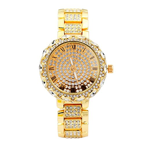 Swyss Women Luxury Watches,Jewelry Metal Quartz Bracelet Stainless Steel with Rhinestone Analog Wrist Watch (Gold)