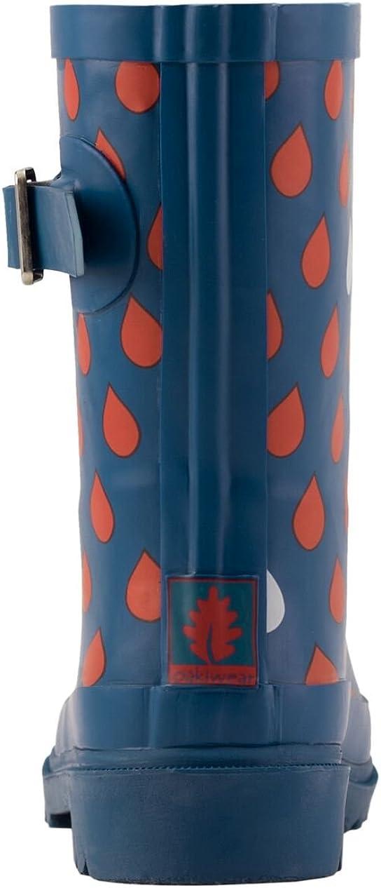 OAKI Kids Rubber Rain Boots Navy /& Red Raindrops 4T US Toddler