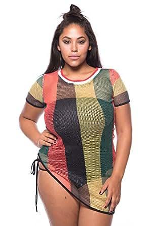 Womens Plus Size Fishnet Rasta Jamaica Bikini Cover Up ...