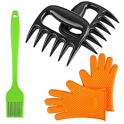 Magicook 5PCS BBQ Kit- Pulled Pork Shredder Claws + Silicone Oven Glove + BBQ Oil Brush for Grill Smoker Outdoor Cooking by Magicook