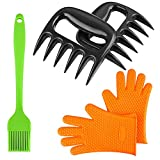 Magicook 5PCS BBQ Kit - Pulled Pork Meat Bear Paws Shredder Claws + Heat Resistant Silicone Oven Gloves + BBQ Oil Brush for Grill Smoker Outdoor Cooking