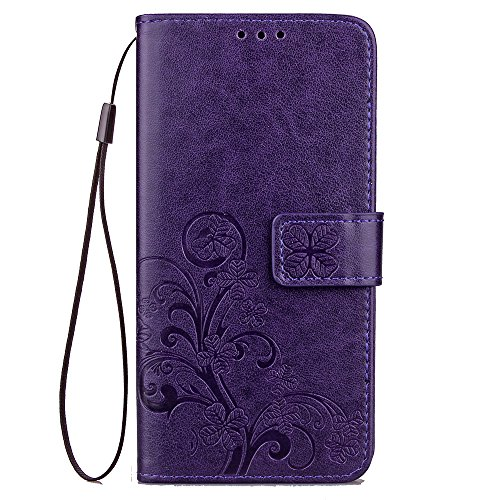 LG X Power 2 Case, LG Fiesta LTE Case, LG X Charge Case, Lwaisy Floral Clover Embossed PU Leather Wallet Flip Protective Case Cover with Card Slots and Stand for LG X Power 2 (2017) - Purple