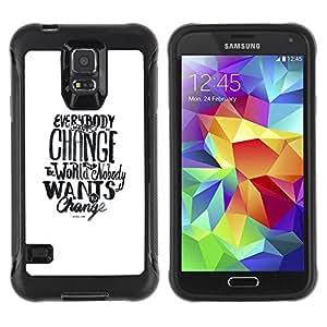 Be-Star único patrón Impacto Shock - Absorción y Anti-Arañazos Funda Carcasa Case Bumper Para SAMSUNG Galaxy S5 V / i9600 / SM-G900F / SM-G900M / SM-G900A / SM-G900T / SM-G900W8 ( Change World Want Social Text White )
