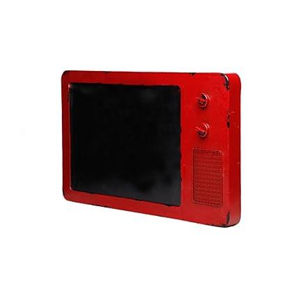 Health UK Accessories- Inicio Colgante Rojo Hierro Barbacoa Restaurante Vintage TV Modelo Pizarra Tablero de