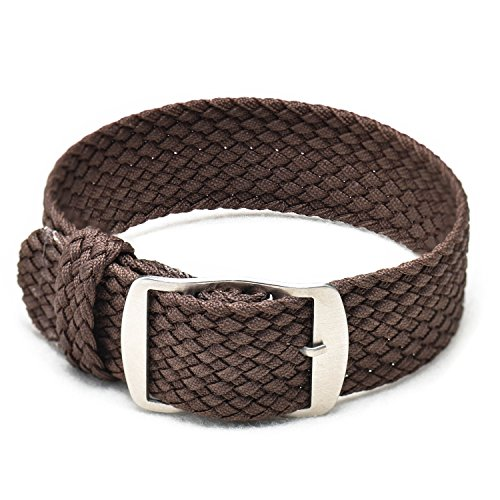 Ullchro Nylon Watch Strap Replacement Perlon Braided Woven Watch Band NATO Men Women - 14mm, 16mm, 18mm, 20mm, 22mm Watch Bracelet with Stainless Steel Silver Buckle (18mm, (Brown Woven Strap)