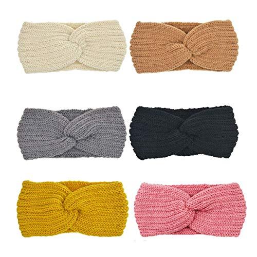 DRESHOW Crochet Turban Headband for Women Warm Winter Headband Headwrap (6 Pack Crochet A)