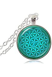 Green Flower Pendant Necklace Flower of Life Necklaces Yoga Necklace Mandala Choker Neckless Zen Jewelry Metaphysical Jewellery