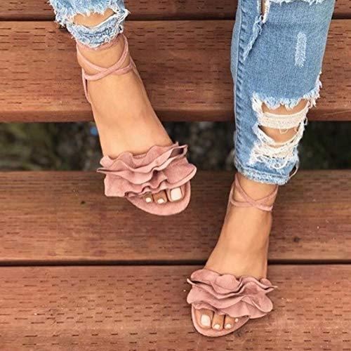 Sandals Elegante Con Punta Planas Tobillo Zapatos De Flor Minetom Casual Correa El Sandalias Mujer Plano En Verano Abierta Pink Roma Y6zp8qO