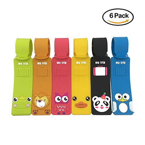 Set of 6 Cute Animals Luggage Tags, Colorful Silicone Travel Suitcase Bag (Frog Personalized Address Labels)