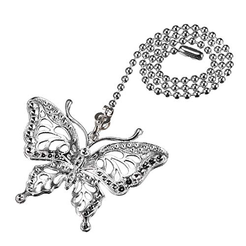 uxcell Butterfly Chromium Finish Pendant 12 inch Silver Tone Pull Chain for Lighting Fans