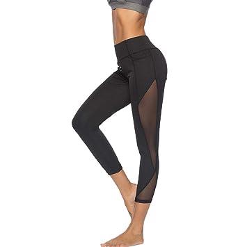 5f2e030b2a SMILEQ Pants Women Leggings Fitness Sports Gym Running Trousers Yoga  Athletic Mesh Pants (S,
