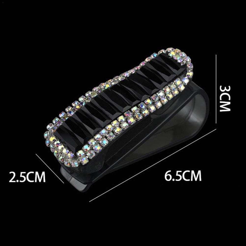 Maliyaw Porte-Lunettes pour Voiture Pare-Soleil Mode Bling Cristal Strass Voiture Pare-Soleil Lunettes avec Double Porte Clip Clip Titulaire Accessoires