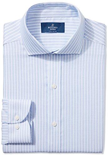 BUTTONED DOWN Men's Slim Fit Cutaway-Collar Non-Iron Dress Shirt, Blue Textured Stripe, 15.5