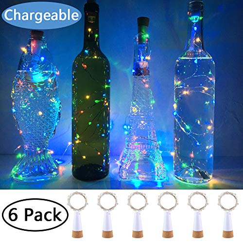 NeoJoy Rechargeable Wine Bottle Lights, LED Cork Lights USB Fairy String Lights Parties Decoration, Colorful