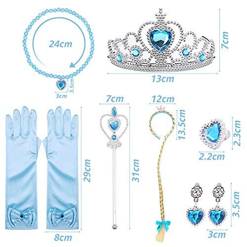 VGOODALL ELSA Eisprinzessin Kostüme Set, 7 Zubehör ELSA Eiskönig--Krone Zauberstab Kinder Handschue für 2-9 Jahre Mädchen Kinder Kostüme