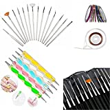 Glam Hobby 20pc Nail Art Manicure Pedicure Beauty Painting Polish Brush and dotting Pen Tool Set For Natural, False, Acrylic and Gel Nails