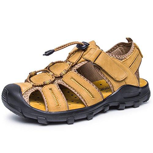 Xing Lin Sandalias De Hombre Cuero Verano Hombre De Calzado De Playa De Moda Casual Hombres Transpirable Sandalias Tendencia Exterior Fondo Blando De Hombres Zapatillas golden