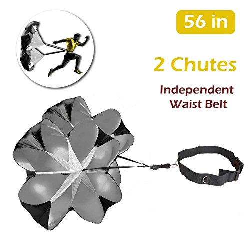 TRIWONDER 56 inch Speed Training Resistance Parachute Running Sprint Chute for Soccer Football Sport Power Speed Training & Fitness Core Strength Training (Black - 56in with 2 Chutes)