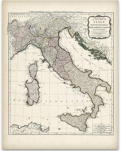 - 1794 Italy Map - 11x14 Unframed Art Print - Great Home Decor Under $15 for Italians