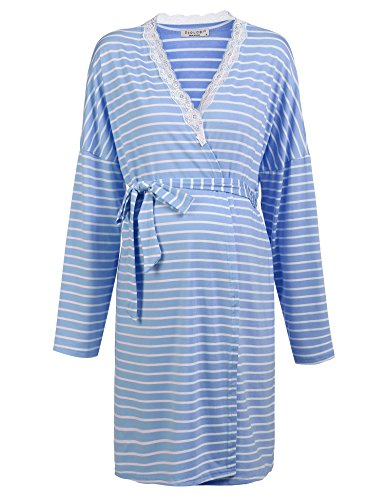 Ekouaer Women Maternity Pregnant Robe Labor Delivery Nursing Gowns Hospital Bag (Blue,M)