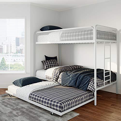 DHP 4299119 Triple White Metal Bunk Bed Frame Twin Size