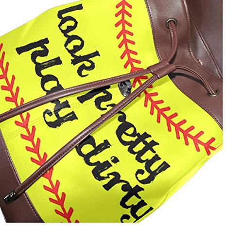 Kvinnor PU-läder softball bas gul ryggsäck handväska resa skola axelväska ledig dagväska