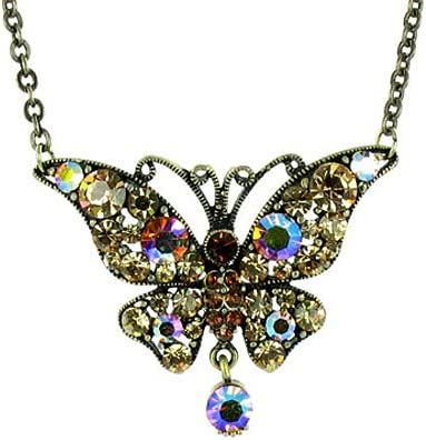 Brown on Silver Plated Miss Mysterious Butterfly Necklace