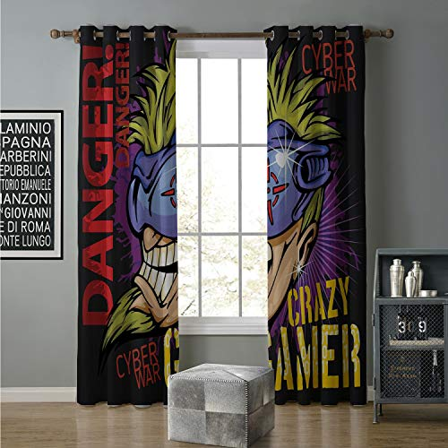 Jinguizi Blackout Curtain Creative Blackout Window Drapes 120 by 84 Inch Florida,Cute Cartoon Dog Cozy Cloths and Hot Chocolate Mug,Fern Green Dark Coral Dark Mustard