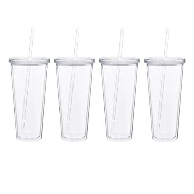 22oz. Double Wall Tumbler Cup Clear with lids and straws - Set of 4