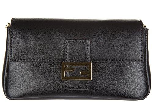 Fendi women's leather shoulder bag original micro baguette black