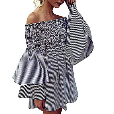 Toimothcn Womens Stripe Off Shoulder with Bell Sleeve Elastic Chest Holiday Party Dress