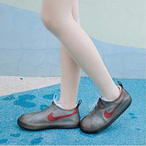 XHYRB 靴カバー、防水ブーツ、靴カバー、再利用可能な非スリップ雨雪オーバーシューズ折り畳み式の雨靴 防水靴、防雨カバー、長靴 (Color : Black, Size : S)