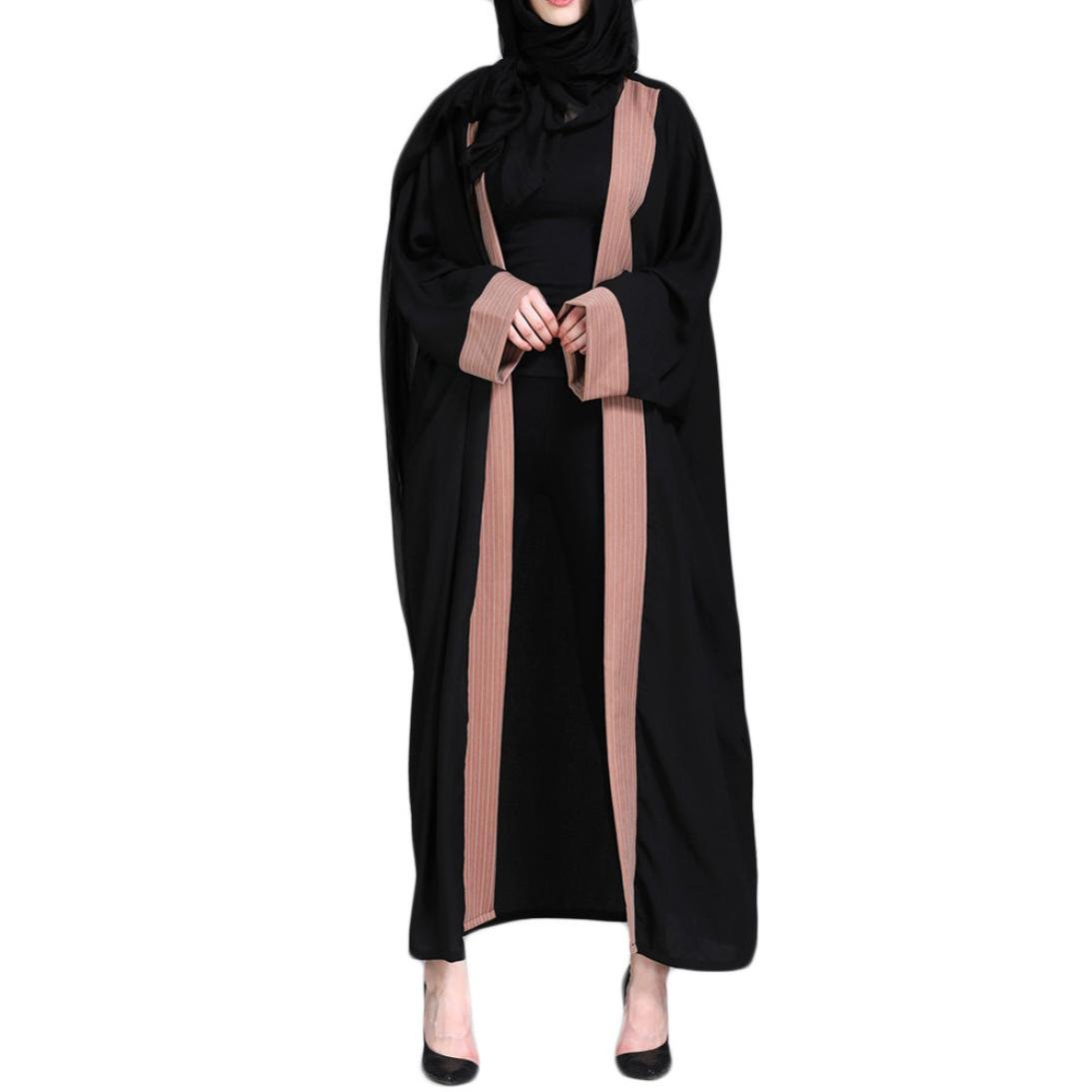 Spbamboo Muslim Women Islamic Embroidered Splice Long Coat Middle East Long Robe