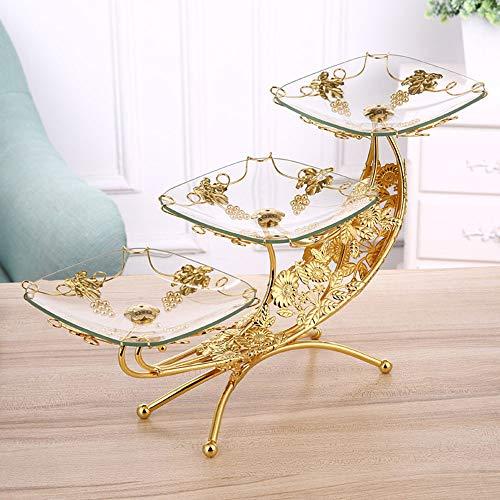 JIANword Fruit Plate European Living Room Creative Glass Fruit Plate Luxury Double Fruit Basket Three-Layer Fruit Bowl 51X19x27cm