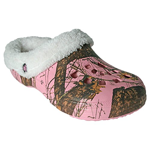 DAWGS Women's Mossy Oak Fleecedawg Mule, Breakup Infinity/Pink, 6 M US Fleece Lined Clogs