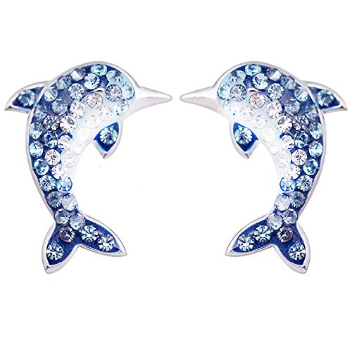 RC Recommend Earrings Women Girls Jewelry 925 Sterling Silver Cubic Zirconia Color gradient Very Pretty Dolphin Earrings, Shine, Shine, Shine,