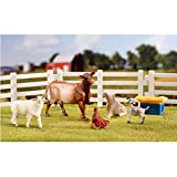 Breyer Stablemate Farmyard Friends Includes a fencing, cow, sheep, pig, goat, chicken and hay manger