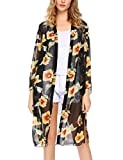 ELESOL Women's Floral High Low Loose Sheer Chiffon Kimono Cardigan Capes Black S